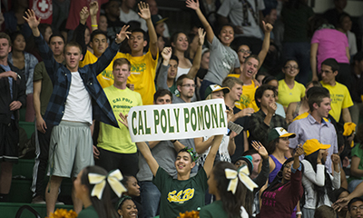 Students cheering at Athletics game