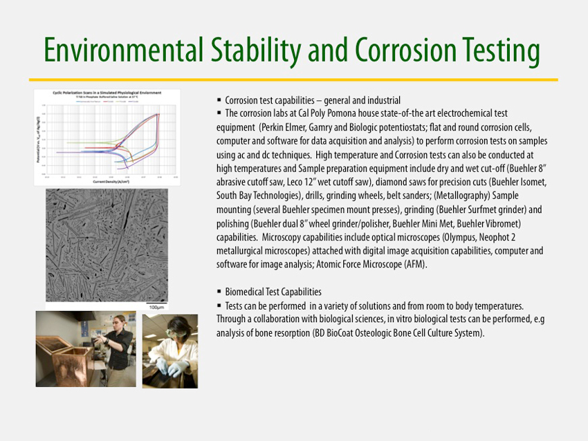Environmental Stability and Corrosion Testing