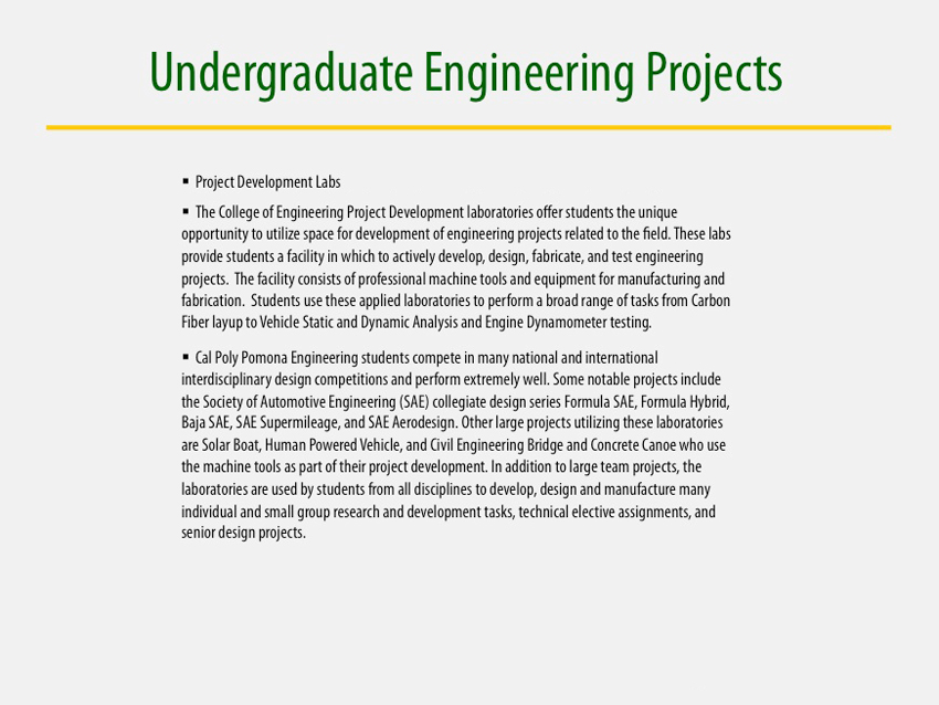 Undergrad Projects